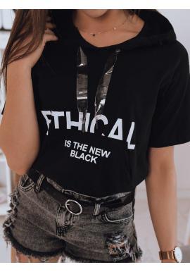 Dámske módne tričko s kapucňou v čiernej farbe