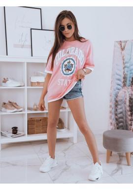 Ružové oversize tričko s potlačou pre dámy