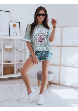 Oversize dámske tričko mätovej farby s potlačou