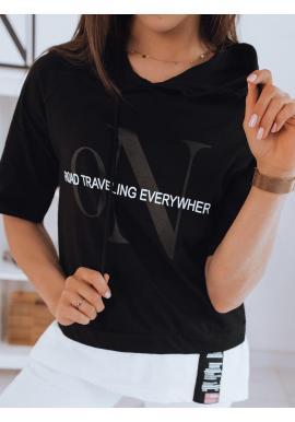 Čierne oversize tričko s kapucňou pre dámy