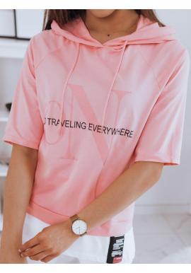Dámske oversize tričká s kapucňou v ružovej farbe