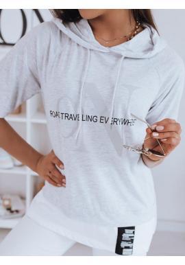 Oversize dámske tričko svetlosivej farby s kapucňou