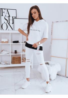 Biele oversize tričko s kapucňou pre dámy