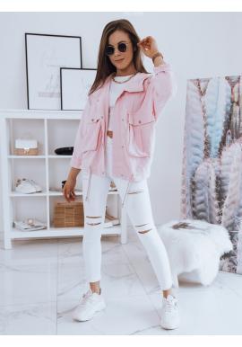 Ružová oversize bunda s kapucňou pre dámy