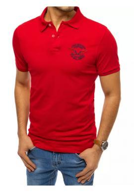 Módna pánska polokošeľa červenej farby s výšivkou a potlačou