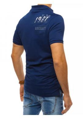 Pánske módne polokošele s výšivkou a potlačou v modrej farbe