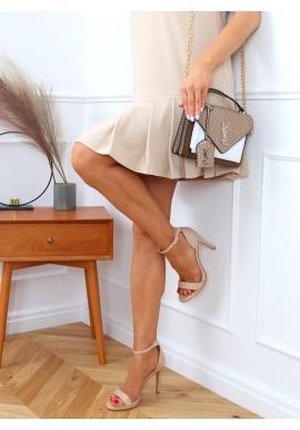 Béžové elegantné sandále na podpätku pre dámy
