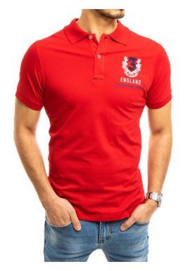 Športová pánska polokošeľa červenej farby s výšivkou