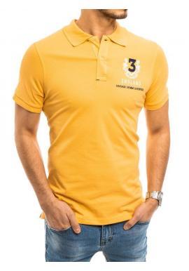 Pánska športová polokošeľa s výšivkou v žltej farbe