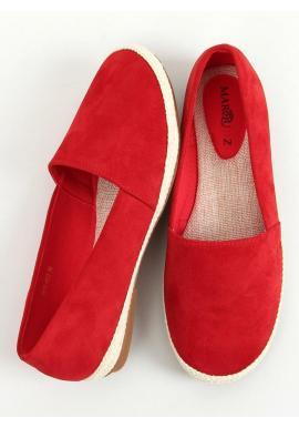 Semišové dámske espadrilky červenej farby