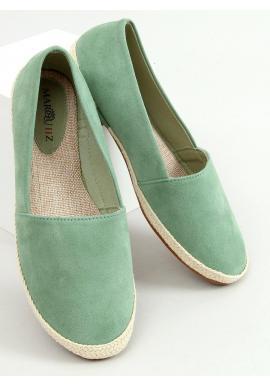 Semišové dámske espadrilky zelenej farby