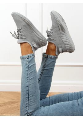 Dámske ponožkové tenisky s pružnou podrážkou v sivej farbe