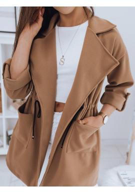 Hnedý módny kabát s veľkým golierom pre dámy