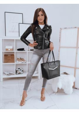 Dámska koženková bunda s ozdobnými zipsmi v čiernej farbe