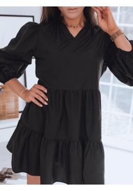 Oversize dámske šaty čiernej farby s volánom
