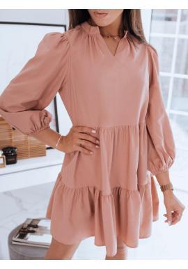 Dámske oversize šaty s volánom v broskyňovej farbe