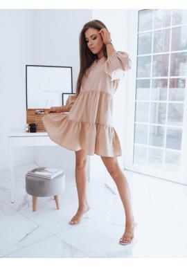 Béžové oversize šaty s volánom pre dámy