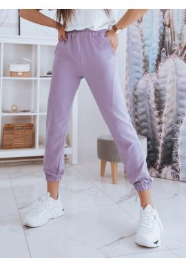 Pohodlné dámske tepláky fialovej farby s vysokým pásom
