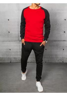 Tepláková pánska súprava čierno-červenej farby bez kapucne