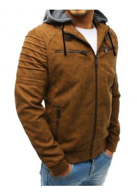 Hnedá kožená bunda s odopínacou kapucňou pre pánov