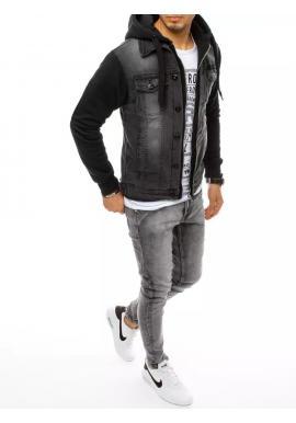 Pánska riflová bunda s teplákovou kapucňou a rukávmi v čiernej farbe