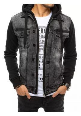 Riflová pánska bunda tmavosivej farby s teplákovou kapucňou a rukávmi