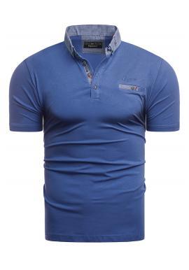 Pánska bavlnená polokošeľa v modrej farbe