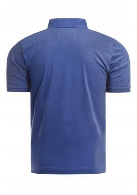 Vzorovaná pánska polokošeľa modrej farby