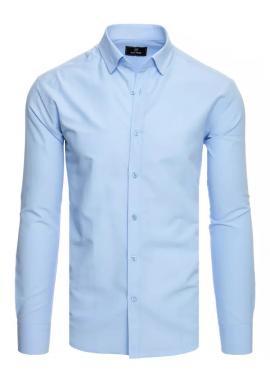 Hladká pánska košeľa svetlomodrej farby s dlhým rukávom