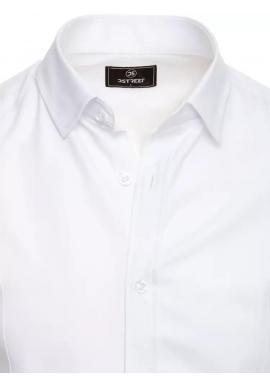 Pánske hladké košele s dlhým rukávom v bielej farbe