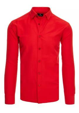 Červená hladká košeľa s dlhým rukávom pre pánov