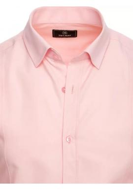 Hladká pánska košeľa ružovej farby s dlhým rukávom