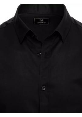 Pánska hladká košeľa s dlhým rukávom v čiernej farbe