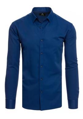 Tmavomodrá hladká košeľa s dlhým rukávom pre pánov