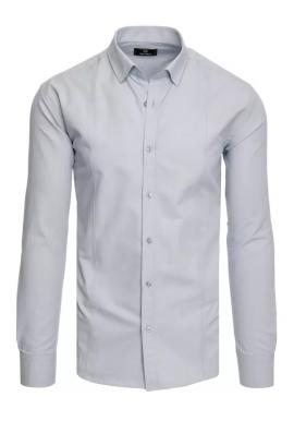 Pánska hladká košeľa s dlhým rukávom v svetlosivej farbe