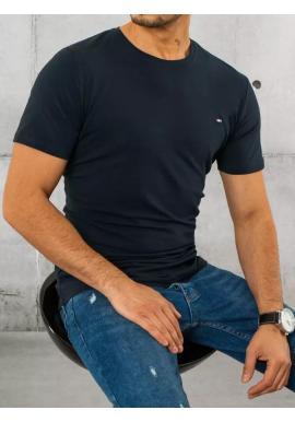 Bavlnené pánske tričko tmavomodrej farby s krátkym rukávom