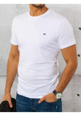 Biele bavlnené tričko s krátkym rukávom pre pánov