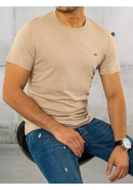 Pánske bavlnené tričko s krátkym rukávom v béžovej farbe