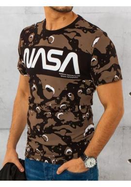 Čierne maskáčové tričko s potlačou NASA pre pánov