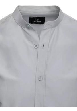 Módna pánska košeľa svetlosivej farby so stojačikom