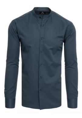 Tmavosivá módna košeľa so stojačikom pre pánov
