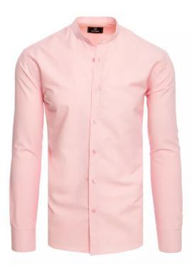 Módna pánska košeľa ružovej farby so stojačikom