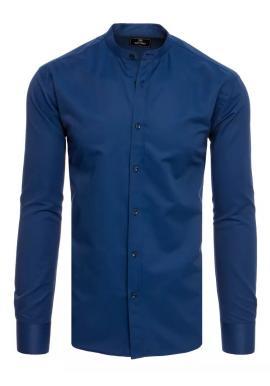 Tmavomodrá módna košeľa so stojačikom pre pánov
