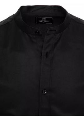 Módne pánske košele čiernej farby so stojačikom