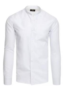Pánska módna košeľa so stojačikom v bielej farbe