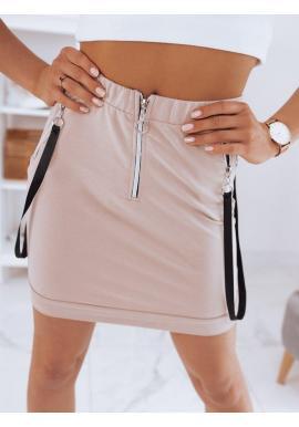 Dámska krátka sukňa s remienkami v béžovej farbe