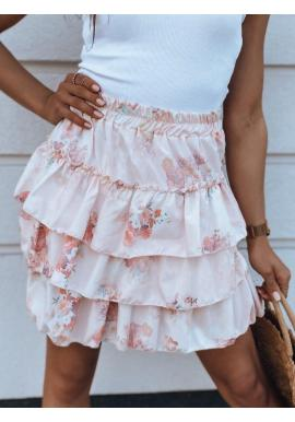 Dámska kvetovaná sukňa s volánmi v ružovej farbe