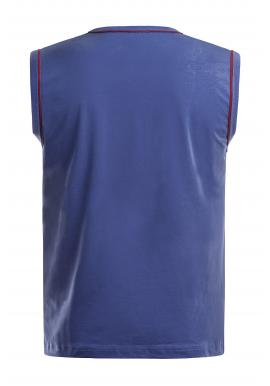 Štýlové pánske tričko bez rukávov modrej farby s potlačou