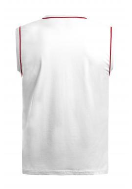Pánske štýlové tričko bez rukávov s potlačou v bielej farbe