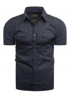 Pásikavá pánska košeľa tmavomodrej farby s vreckami na hrudi